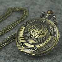 Symbol Vintage Retro Bronzeton Steampunk Quarz Taschenuhr-Halsketten-Anhäng X1H9