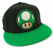 "SUPER MARIO ""1 UP MUSHROOM TWO TONE"" BLACK/GREEN BASEBALL HAT CAP NEW OFFICIAL"