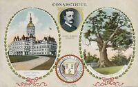 CONNECTICUT CT – State Seal, Capitol, Charter Oak and Governor – udb (pre 1908)