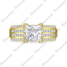 White Topaz Cz Engagement Wedding Ring 14K Yellow Gold Over925 Silver Filled