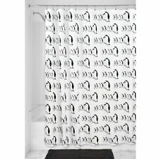 "InterDesign Penguins Soft Fabric Shower Curtain, 72"" x 72"", Black/White"