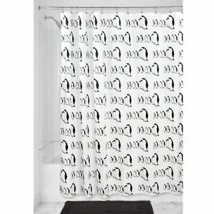 "InterDesign Penguins Soft Fabric Shower Curtain, 72"" x 72"", Black/White"