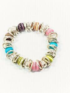 Artisan Silver Tone Colorful Glass Cats Eye Round Bead Circle Stretch Bracelet
