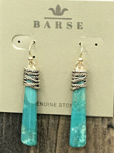 Barse Wrapture Earrings- Turquoise Magnesite & Bronze- NWT