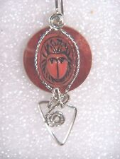 EGYPTIAN CORAL SCARAB PENDANT STERLING SILVER WIRE WRAP