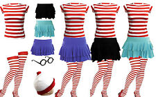 NEW WOMENS RED & WHITE STRIPS T-SHIRT KIT HEN PARTY COSTUME 6 8 10 12 14 16 18