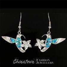 Hummingbird & Flower Ocean Blue Fire Opal Silver Jewellery Dangle Drop Earrings