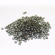 300 Negro Plata Forrado Semilla Cuentas de cristal checo, tamaño 4mm