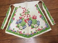 VTG Ladies Half Apron Made From Kitchen Towel Green Blue Red Fruit Mid Century