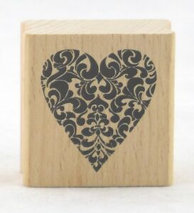 Decorative Heart Wood Mounted Rubber Stamp Stampendous NEW love valentines bride