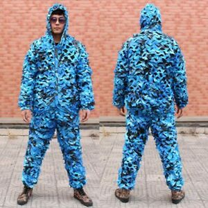 Blue Ghillie Suit CS Camouflage Clothing Military Tactical Suit Hunting Clothes