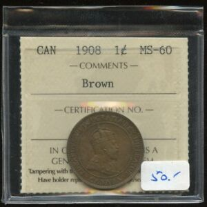 1908 Canada Large Cent - ICCS MS-60 Brown