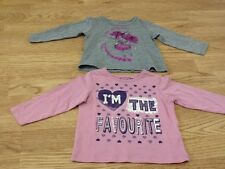 Baby Girls Size 9-12 Months Grey Fairy Top & Pink I'm The Favourite Top - BNWT