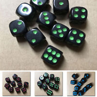 Set Of 10pc D6 Dice Six Sided Die Black W/ 3 Colors Numbers For RPG Games 16mm