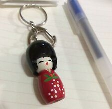 BAG CHARM KEYRING - JAPANESE DOLL - PINK   ( collectibles keychain souvenir)