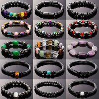 Fashion Weight Loss Hematite Beads Stretch Bracelet Anti-Fatigue Magnetic Bangle