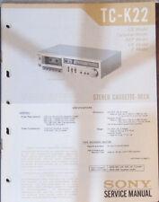 Sony TC-K22 Manual de taller de reparación de servicio Platina de cassette (copia Original)