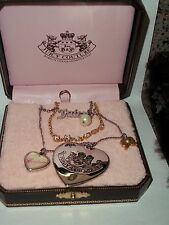 Juicy Couture Multi Layered Charm Necklace Heart Bow Script Pearl with Box ~RARE