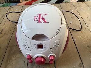 EASY KARAOKE CD PLAYER BOOMBOX PORTABLE KIDS WHITE