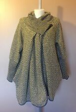 Ladies Italian Lagenlook CONTRAST 80% WOOL Zip Button Pocket Cocoon Jacket Coat