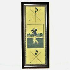 "Vintage Golfer Woven Tapestry Framed Bombay Co 21.25"" H x 8.75"" W"