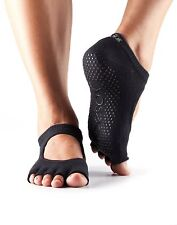 ToeSox No Toe Bella Pilates Yoga Dance Martial Arts Non Slip Grip Exercise Socks Black Small