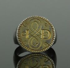 """ANCIENT MEDIEVAL SILVER GILT RING WITH INITIALS """" I D """" - CIRCA 15TH C AD"""