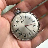 Vintage Slim Rare Pocket Watch Snowflake USSR Mechanical Original LUCH Belarus