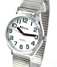 Ravel Mens SUPER BIG NUMBER Bold Hands Silver Tone Stretch Bracelet Watch