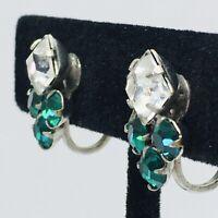 Vintage Art Deco Emerald Rhinestone Earrings Screwback Diamond Round Prong Set