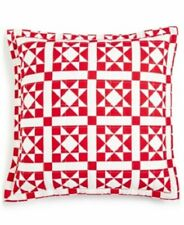 """Calvin Klein Abigail 18"""" x 18"""" Geometric Quilted Decorative Pillow -  RED"""