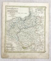 1845 Antique Map of The Kingdom of Poland Prussia Rare Hand Coloured Engraving