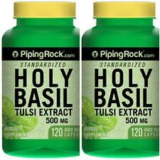 2 BOTTLES HOLY BASIL EXTRACT STRESS BLOOD GLUCOSE 500mg 240 CAPSULES