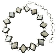 Silver Plated Mother of Pearl Cabochon Metal Belt Adjustable Length