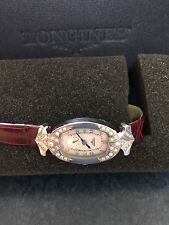 BN Longines limited ed diamond encrusted watch with leather strap