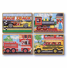 Melissa & Doug Kids Vehicles 4 Jigsaws 12 Piece Puzzles In A Box