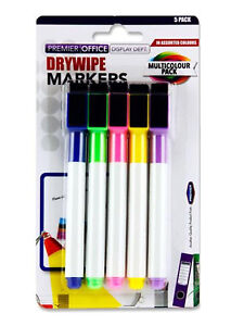 White Board Coloured Markers with Cap Lid Eraser Dry Wipe Pens 5 Assorted Pack