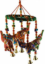 Ethnic Indian 34cm Long Hanging 5 Elephant Mobile Wind Chime With Bell