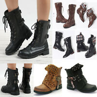 Womens Doc Lace Up Ankle Boots Flat Low Heels Combat Worker Goth Punk Shoes Size