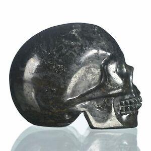 "1.97""Natural Black Iron Carved Skull Metaphysic Healing Power #33S17"