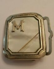 VINTAGE LETTER M BELT BUCKLE NICKEL SILVER Mother of Pearl inlaid