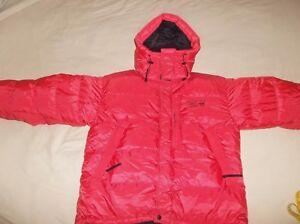Mountain Hardwear Goose Down Sub Zero Jacket Coat BAFFLED Retro Belay Parka Red