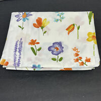 Vintage Twin Flat Sheet Spring Flower Purple Orange Yellow Cotton Polyester