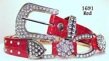 REDUCED! Chic & Sexy Red Rhinestone Crystal Croco Bling Belt Size Medium