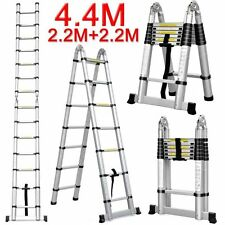 NEW 4.4M Telescopic Aluminium Ladder Extension Alloy Double Extendable Step AUS