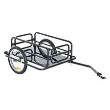 Black Wanderer Folding Cargo Bicycle w/ Storage Cart & Luggage Trailer