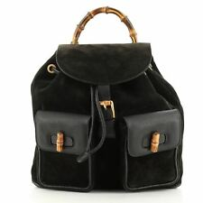 Gucci Vintage Bamboo Backpack Suede Medium