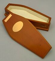 Dolls House Miniature 1/12th Scale Wooden Coffin with Silky Lining DF849