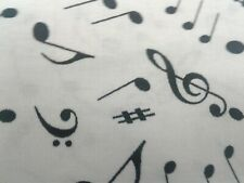 Black Musical Notes On White Fabric Scrap Quilt Sew Craft