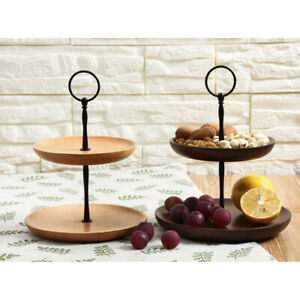 2 Tier Wood Cupcake Cake Stand Display Holder Round Wedding Birthday Party